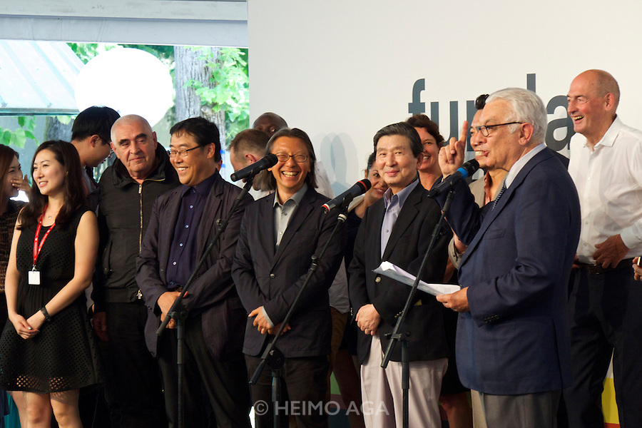 Venice, Italy. 14th Architecture Biennale 2014, &quot;fundamentals&quot;.<br /> The Awards Ceremony.<br /> Biennale President Paolo Baratta and the team of the Korean Pavillion including Austrian Peter Noever who had just won the Golden Lion.