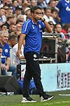 31.08.2019, VELTINS-Arena, Gelsenkirchen, GER, DFL, 1. BL, FC Schalke 04 vs Hertha BSC, DFL regulations prohibit any use of photographs as image sequences and/or quasi-video<br /> <br /> im Bild David Wagner (FC Schalke 04) Gestik / Geste / gestikuliert / Mimik / starker Gesichtsausdruck / Emotion. <br /> <br /> Foto © nordphoto/Mauelshagen