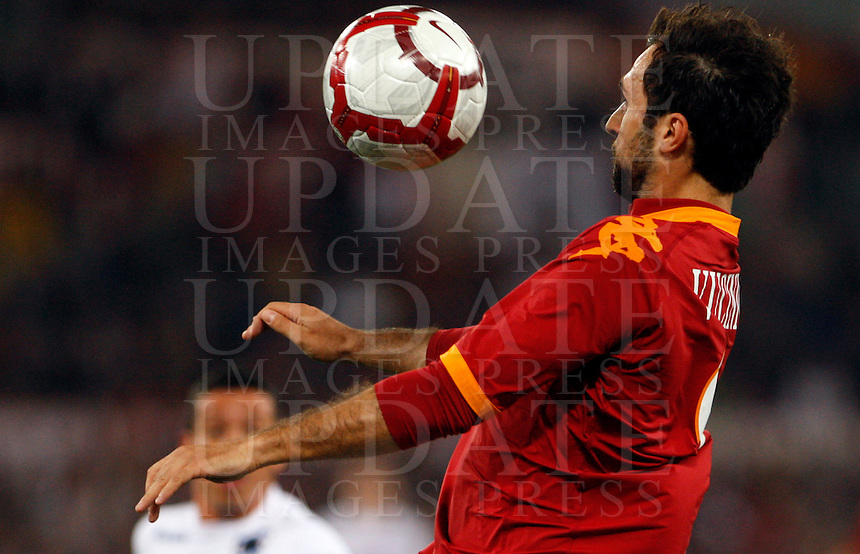 Calcio, Serie A: Roma vs Sampdoria. Roma, stadio Olimpico, 25 aprile 2010..Football, Italian serie A: Roma vs Sampdoria. Rome, Olympic stadium, 25 april 2010..AS Roma forward Mirko Vucinic, of Montenegro, controls the ball..UPDATE IMAGES PRESS/Riccardo De Luca