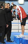 November 13 2011 - Guadalajara, Mexico: Jana Murphy receiving her Silver Medal at the 2011 Parapan American Games in Guadalajara, Mexico.  Photos: Matthew Murnaghan/Canadian Paralympic Committee