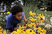 1Y08-060z   Land Snail - girl finding snail on flower