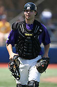 May 15, 2009:  Catcher Jason Allinder of Niagara University runs off the field after warming up the pitcher during a game at Demske Sports Complex in Buffalo, NY.  Photo by:  Mike Janes/Four Seam Images