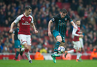 Southampton's Pierre-Emile Hojbjerg during the EPL - Premier League match between Arsenal and Southampton at the Emirates Stadium, London, England on 8 April 2018. Photo by Andrew Aleksiejczuk / PRiME Media Images.