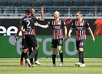 celebrate the goal, Torjubel zum 1:0 Sebastian Rode (Eintracht Frankfurt) mit Bas Dost (Eintracht Frankfurt), Evan N'Dicka (Eintracht Frankfurt), Dominik Kohr (Eintracht Frankfurt)<br /> - 27.06.2020: Fussball Bundesliga, Saison 19/20, Spieltag 34, Eintracht Frankfurt vs. SC Paderborn 07, emonline, emspor, Namen v.l.n.r. <br /> <br /> Foto: Marc Schueler/Sportpics.de/Pool <br /> Nur für journalistische Zwecke. Only for editorial use. (DFL/DFB REGULATIONS PROHIBIT ANY USE OF PHOTOGRAPHS as IMAGE SEQUENCES and/or QUASI-VIDEO)
