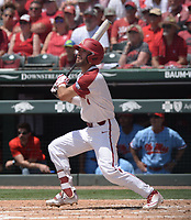 NWA Democrat-Gazette/ANDY SHUPE<br /> Arkansas Ole Miss Saturday, June 8, 2019, during the inning in the NCAA Super Regional game at Baum-Walker Stadium in Fayetteville. Visit nwadg.com/photos to see more photographs from the game.