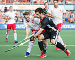 AMSTELVEEN - Chris Griffiths (Eng) with Lukas Windfeder (Ger)   during the poulematch England v Germany (men) 3-4,Rabo Eurohockey Championships 2017.   WSP COPYRIGHT KOEN SUYK