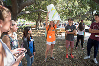 Incoming first-years meet their O-Team, Academic Quad. Incoming first-years and their families are welcomed by O-Team members and the community at the start of Occidental College's Fall Orientation for the class of 2021, Aug. 24, 2017.<br /> (Photo by Marc Campos, Occidental College Photographer)