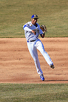 Wisconsin Timber Rattlers shortstop Jake Gatewood (2) throws to first during a game against the Peoria Chiefs on April 12th, 2015 at Fox Cities Stadium in Appleton, Wisconsin.  Peoria defeated Wisconsin 11-1.  (Brad Krause/Four Seam Images)