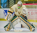 14 December 2013: University of Vermont Catamount Goaltender Brody Hoffman, a Sophomore from Wilkie, Saskatchewan, warms up prior to starting against the Saint Lawrence University Saints at Gutterson Fieldhouse in Burlington, Vermont. The Catamounts defeated their former ECAC rivals, 5-1 to notch their 5th straight win in NCAA non-divisional play. Mandatory Credit: Ed Wolfstein Photo *** RAW (NEF) Image File Available ***