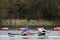 Caversham. Berkshire. UK<br /> Men's pair, Oliver HINES and Graham ORD, competing at the 2016 GBRowing U23 Trials at the GBRowing Training base near Reading, Berkshire.<br /> <br /> Monday  11/04/2016 <br /> <br /> [Mandatory Credit; Peter SPURRIER/Intersport-images]