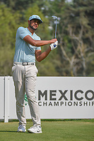 Tony Finau (USA) watches his tee shot on 18 during round 2 of the World Golf Championships, Mexico, Club De Golf Chapultepec, Mexico City, Mexico. 3/2/2018.<br /> Picture: Golffile | Ken Murray<br /> <br /> <br /> All photo usage must carry mandatory copyright credit (&copy; Golffile | Ken Murray)