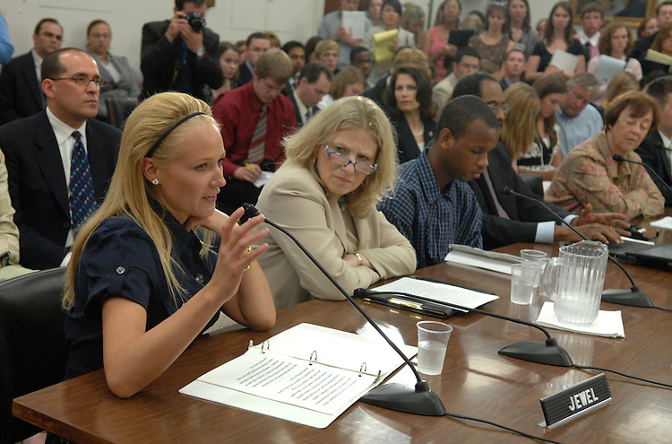 Singer Jewel, also an Ambassador for Virgin Unite, testifies at a House Ways and Means Subcommittee hearing on youth homelessness and disadvantaged youth.