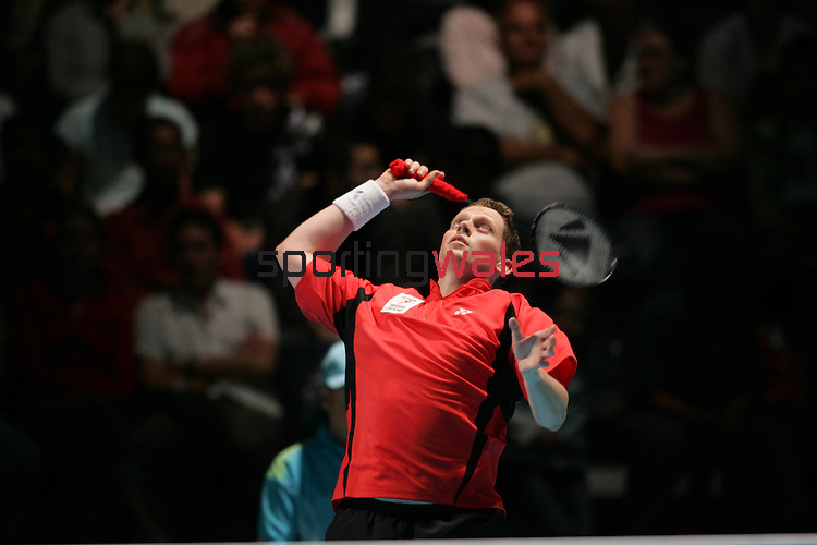 Commonwealth Games Badminton Mixed Doubles.Wales v England.Kelly Morgan & Richard Vaughan v  Simon Archer & Ella Tripp.Melbourne Exhibition Centre.Melbourne.22.03.06.©Steve Pope.Steve Pope Photography.The Manor .Coldra Woods.Newport.South Wales.NP18 1HQ.07798 830089.01633 410450.steve@sportingwales.com.