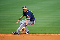 San Antonio Missions shortstop Trea Turner (4) fields a ground ball during a game against the NW Arkansas Naturals on May 31, 2015 at Arvest Ballpark in Springdale, Arkansas.  NW Arkansas defeated San Antonio 3-1.  (Mike Janes/Four Seam Images)