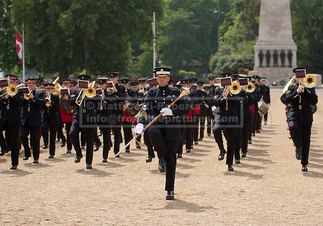 The United States Army Band join with the Massed Bands and Corps of Drums of the Household Division to rehearse Beat Retreat at Horse Guards Parade. The event takes place on 8th and 9th June for featuring the US band the first time. The US visit comes two weeks after the State visit to London of the US President.
