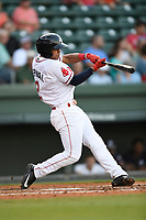 Shortstop Santiago Espinal (2) of the Greenville Drive bats in a game against the Rome Braves on Wednesday, May 31, 2017, at Fluor Field at the West End in Greenville, South Carolina. Greenville won, 7-1. (Tom Priddy/Four Seam Images)