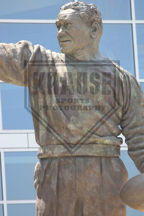 GREEN BAY - JUNE 2010:  Statue of former Green Bay Packers coach Curly Lambeau outside of Lambeau Field on June 22, 2010 in Green Bay, Wisconsin. (Photo by Brad Krause)