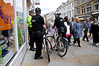 Police mountain bike unit on patrol in Oxford City centre..
