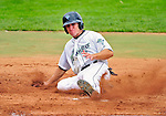 25 July 2010: Vermont Lake Monsters outfielder Chad Mozingo slides home safely to score the team's 5th run against the Tri-City ValleyCats at Centennial Field in Burlington, Vermont. The ValleyCats came from behind to defeat the Lake Monsters 10-8 in NY Penn League action. Mandatory Credit: Ed Wolfstein Photo