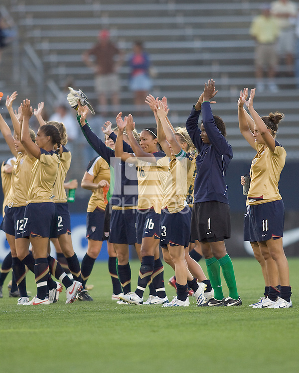 United States waves to the fans. The United States defeated Norway, 1-0, in Rentschler Stadium, July 14, 2007.