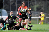 Hurricanes' Finlay Christie in action during the Hurricanes Hinters v Wolfpack at Jerry Collins Stadium, Porirua, New Zealand on Friday 29 March 2019. <br /> Photo by Masanori Udagawa. <br /> www.photowellington.photoshelter.com