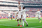 Carlos Henrique Casemiro, Sergio Ramos and Vinicius Jr of Real Madrid celebrating a goal during La Liga match between Atletico de Madrid and Real Madrid at Wanda Metropolitano in Madrid Spain. February 09, 2018. (ALTERPHOTOS/Borja B.Hojas)