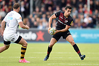 Alex Lozowski of Saracens looks to pass the ball. Aviva Premiership match, between Saracens and Wasps on October 8, 2017 at Allianz Park in London, England. Photo by: Patrick Khachfe / JMP