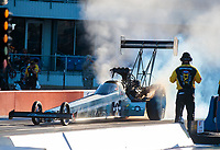 Oct 18, 2019; Ennis, TX, USA; NHRA top fuel driver Mike Salinas during qualifying for the Fall Nationals at the Texas Motorplex. Mandatory Credit: Mark J. Rebilas-USA TODAY Sports