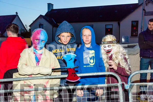 Enjoying the KNOCKNAGOSHEL Halloween festival on Sunday were Calum Hayes, Calum Huston, Shane Howarth and Zach Howarth