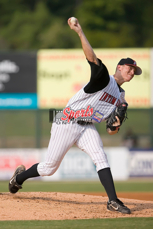 Starting pitcher Johnnie Lowe (43) of the Kannapolis Intimidators in action at Fieldcrest Cannon Stadium in Kannapolis, NC, Sunday July 20, 2008. (Photo by Brian Westerholt / Four Seam Images)