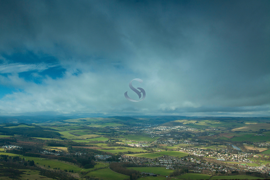 Melrose, Galashiels and the River Tweed from Eildon Hill North, Scottish Borders