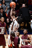 SAN ANTONIO, TX - JANUARY 28, 2009: The Texas State University Bobcats vs. The University of Texas at San Antonio Roadrunners Men's Basketball at the UTSA Convocation Center. (Photo by Jeff Huehn)