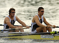 Poznan, POLAND.  2006, FISA, Rowing, World Cup, GBR M4-, left, Steve WILLIAMS, Peter REED,move  away from  the  start, on the Malta  Lake. Regatta Course, Poznan, Thurs. 15.05.2006. © Peter Spurrier   .[Mandatory Credit Peter Spurrier/ Intersport Images] Rowing Course:Malta Rowing Course, Poznan, POLAND