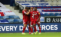 second goal scored for Fulham by Cyrus Christie of Fulham as the other players celebrate during Queens Park Rangers vs Fulham, Sky Bet EFL Championship Football at the Kiyan Prince Foundation Stadium on 30th June 2020