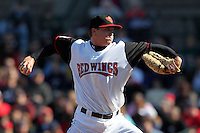 Rochester Red Wings starting pitcher Kyle Gibson #44 delivers a pitch during a game against the Scranton Wilkes-Barre Yankees at Frontier Field on April 9, 2011 in Rochester, New York.  Rochester defeated Scranton 7-6 in twelve innings.  Photo By Mike Janes/Four Seam Images