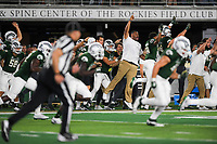 NWA Democrat-Gazette/CHARLIE KAIJO The Colorado State Rams sideline cheers during a kick return in the fourth quarter of a football game, Saturday, September 8, 2018 at Colorado State University in Fort Collins, Colo.