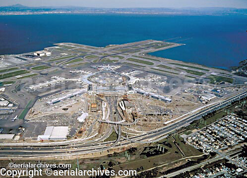 aerial photograph of San Francisco International airport SFO construction