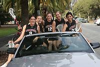12 January 2007: Seniors Jessica Verrilli, Bryanne Gilkinson, Rachel Dyke, Michelle DeChant, and Elizabeth Piselli during a photo shoot in Stanford, CA.