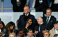 20190607 - PARIS , FRANCE : Italian Pierluigi Collina pictured with Olympique Lyon chairman Michel Aulas (r) and former French international Laura Georges during the female soccer game between France – Les Bleues  and Korea Republic, the opening game and first game for both teams in group A during the FIFA Women's  World Championship in France 2019, Friday 7 th June 2019 at the Parc des Princes Stadium in Paris , France .  PHOTO SPORTPIX.BE | DAVID CATRY
