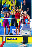Picture by Alex Whitehead/SWpix.com - 10/04/2018 - Commonwealth Games - Swimming - Optus Aquatics Centre, Gold Coast, Australia - Chloe Tutton, Kathryn Greenslade, Georgia Davies and Alys Thomas of Wales win Bronze in the Women's 4x100m Medley Relay.