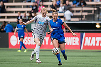 Seattle, WA - Sunday, August 13, 2017: Lindsay Elston and Samantha Mewis during a regular season National Women's Soccer League (NWSL) match between the Seattle Reign FC and the North Carolina Courage at Memorial Stadium.