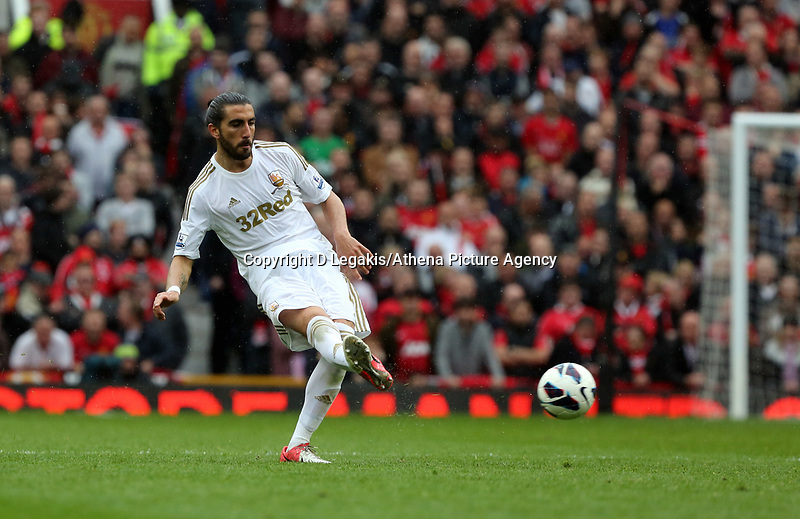 Pictured: Chico Flores.<br /> Sunday 12 May 2013<br /> Re: Barclay's Premier League, Manchester City FC v Swansea City FC at the Old Trafford Stadium, Manchester.
