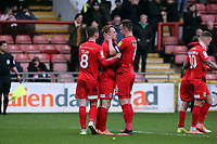 O's 2nd goalscore celebrates with Josh Coulson(right) during Leyton Orient vs Cambridge United, Sky Bet EFL League 2 Football at The Breyer Group Stadium on 7th March 2020