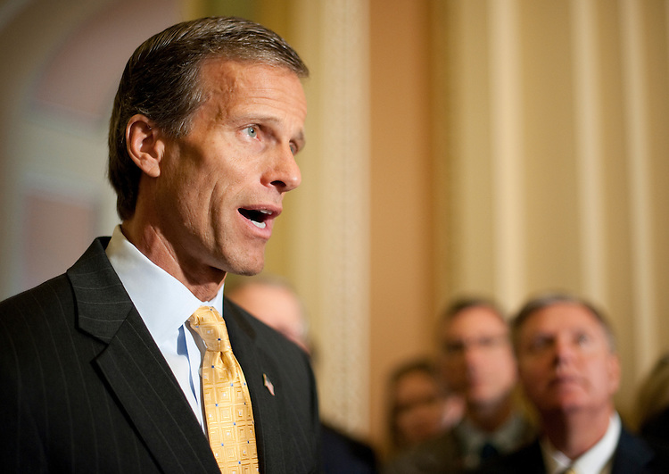 UNITED STATES - JUNE 14: Sen. John Thune, R-S. Dak., speaks to reporters in the Ohio Clock Corridor following the Senate Republicans' policy lunch on Tuesday, June 14, 2011. (Photo By Bill Clark/Roll Call)