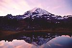 Mount Rainier National Park, reflecting tarn, Mount Rainier, Washington State, Pacific Northwest, U.S.A.,.