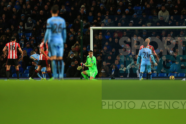 Stevan Jovetic of Manchester City scores his sides second goal - Manchester City vs. Sunderland - Barclay's Premier League - Etihad Stadium - Manchester - 28/12/2014 Pic Philip Oldham/Sportimage