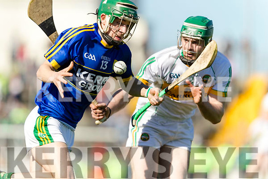 Jordan Conway Kerry in action against Paddy Rigney Offaly in the National Hurling League in Austin Stack Park, Tralee on Sunday.