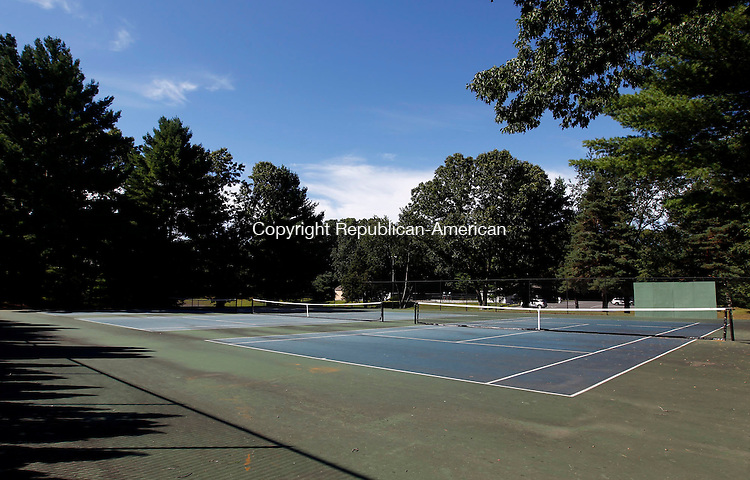 Southbury, CT- 05 September 2013-090513CM05-  The tennis courts at Ballantine Park in Southbury need to be resurfaced as cracks are visible on the playing surface.       Christopher Massa Republican-American