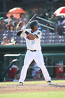 Roberto Baldoquin (21) of the Inland Empire 66ers bats against the Visalia Rawhide at San Manuel Stadium on June 26, 2016 in San Bernardino, California. Inland Empire defeated Visalia, 5-1. (Larry Goren/Four Seam Images)