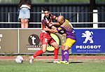 2018-08-05 / Voetbal / Seizoen 2018-2019 / KFC Duffel - RUSC Anderlues / Ilias El Yazidi (l. Duffel) met Maxime Leroy<br /> <br /> ,Foto: Mpics